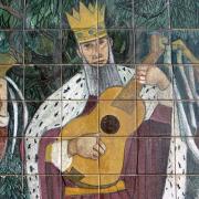 Painel de azulejo do Museu Nogueira da Silva, Braga, David dançando diante da arca da aliança
