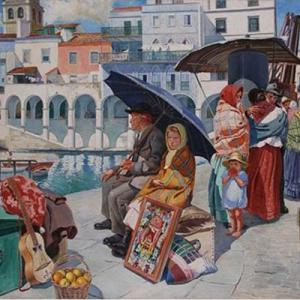 Os emigrantes, do pintor açoriano Domingos Rebelo