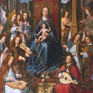 Virgem da Glória, políptico da Sé de Évora, anjos músicos