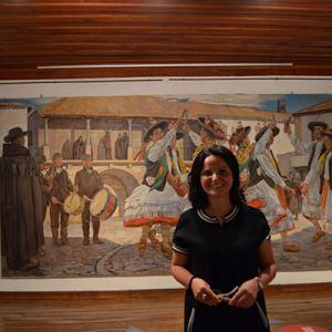 Pintura do artista açoriano Domingos Rebelo e data de 1943, foto tirada no Museu da Terra de Miranda, Sónia Duarte