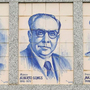 Alberto Gomes, músico da Póvoa de Varzim, em azulejo